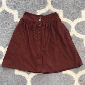 Faux Suede Brown Button Up Flare Soft Skirt